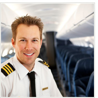 Airline steward in empty plane