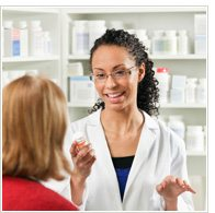 Pharmacist speaking to a