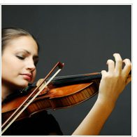 Female violinist playing a violin